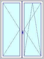 180x240 cm kétszárnyú középen nyíló-nyíló fehér műanyag erkély ajtó, szárnyosztóval