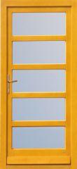 100x210 cm egyszárnyú borovi fenyő kültéri bejárati ajtó lazúr festett, savmart üveggel tip:F-8