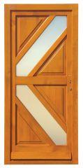 100x210 cm egyszárnyú borovi fenyő kültéri bejárati ajtó lazúr festett, savmart üveggel tip:G-6