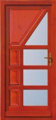 100x210 cm egyszárnyú borovi fenyő kültéri bejárati ajtó festés nélkül savmart üveggel tip:I-5