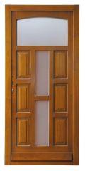100x210 cm egyszárnyú borovi fenyő kültéri bejárati ajtó lazúr festett, savmart üveggel tip:P-6