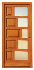 100x210 cm egyszárnyú borovi fenyő kültéri bejárati ajtó lazúr festett, savmart üveggel tip:S-6