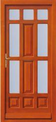 100x210 cm egyszárnyú borovi fenyő kültéri bejárati ajtó lazúr festett, savmart üveggel tip:T-5