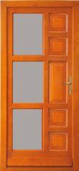 100x210 cm egyszárnyú borovi fenyő kültéri bejárati ajtó lazúr festett, savmart üveggel tip:Z-5