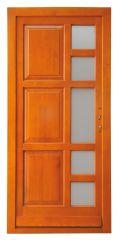 100x210 cm egyszárnyú borovi fenyő kültéri bejárati ajtó lazúr festett, savmart üveggel tip:Z-6