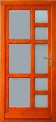 100x210 cm egyszárnyú borovi fenyő kültéri bejárati ajtó lazúr festett, savmart üveggel tip:Z-8