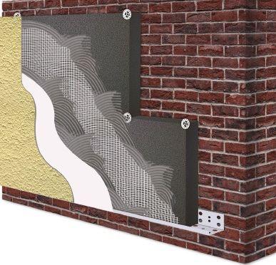 Homlokzati GRAFIT 12 cm vtg. hőszigetelő rendszer 1,5 mm-es kapart vakolattal 100 színben