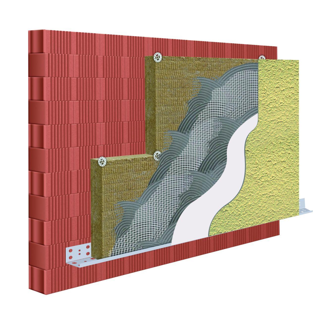 Homlokzati 12 cm vtg. kőzetgyapot hőszigetelő rendszer 1,5 mm-es kapart vakolattal 100 színben
