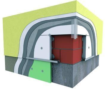 Homlokzati 12 cm vtg. EPS-80 hőszigetelő rendszer 1,5 mm-es kapart vakolattal 100 színben