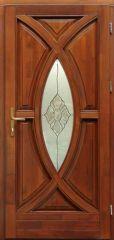100x210 cm egyszárnyú borovi fenyő kültéri bejárati ajtó lazúr festett kivitelben tip:BJ13 Tiffany üveggel