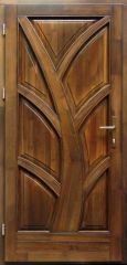 100x210 cm egyszárnyú borovi fenyő kültéri bejárati ajtó lazúr festett kivitelben tip:BJ14 Tele