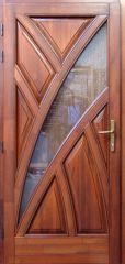 100x210 cm egyszárnyú borovi fenyő kültéri bejárati ajtó lazúr festett kivitelben tip:BJ15 Katedrál üveggel