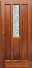 100x210 cm egyszárnyú borovi fenyő kültéri bejárati ajtó lazúr festett kivitelben tip:BJ20 Katedrál üveggel