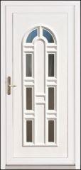 100x210 cm egyszárnyú műanyag HT bejárati ajtó csincsilla katedrál üveggel tip: Bonn Light 8 üveges